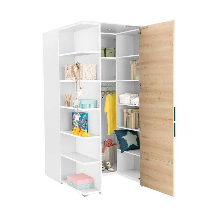 Begehbarer Schrank Für Jugendzimmer In Weiß Buche Petrol Leacun von Jugendzimmer Mit Begehbarem Schrank Bild