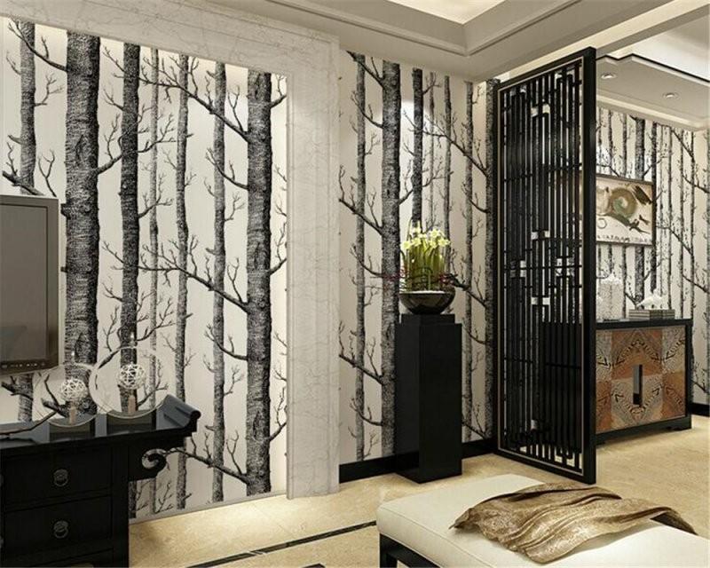 Beibehang Abstrakte Schwarz Und Weiß Zweige Vlies Tapete Baum Stamm von Tapete Birke Schwarz Weiß Photo