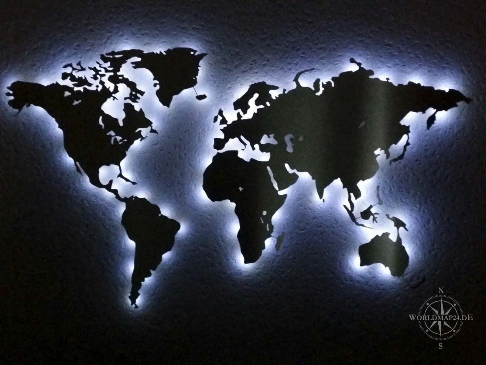 Beleuchtete Weltkarte Wand Dekoration Aus Edelstahl Rbg Led Diy von Led Leinwandbild Selber Machen Photo