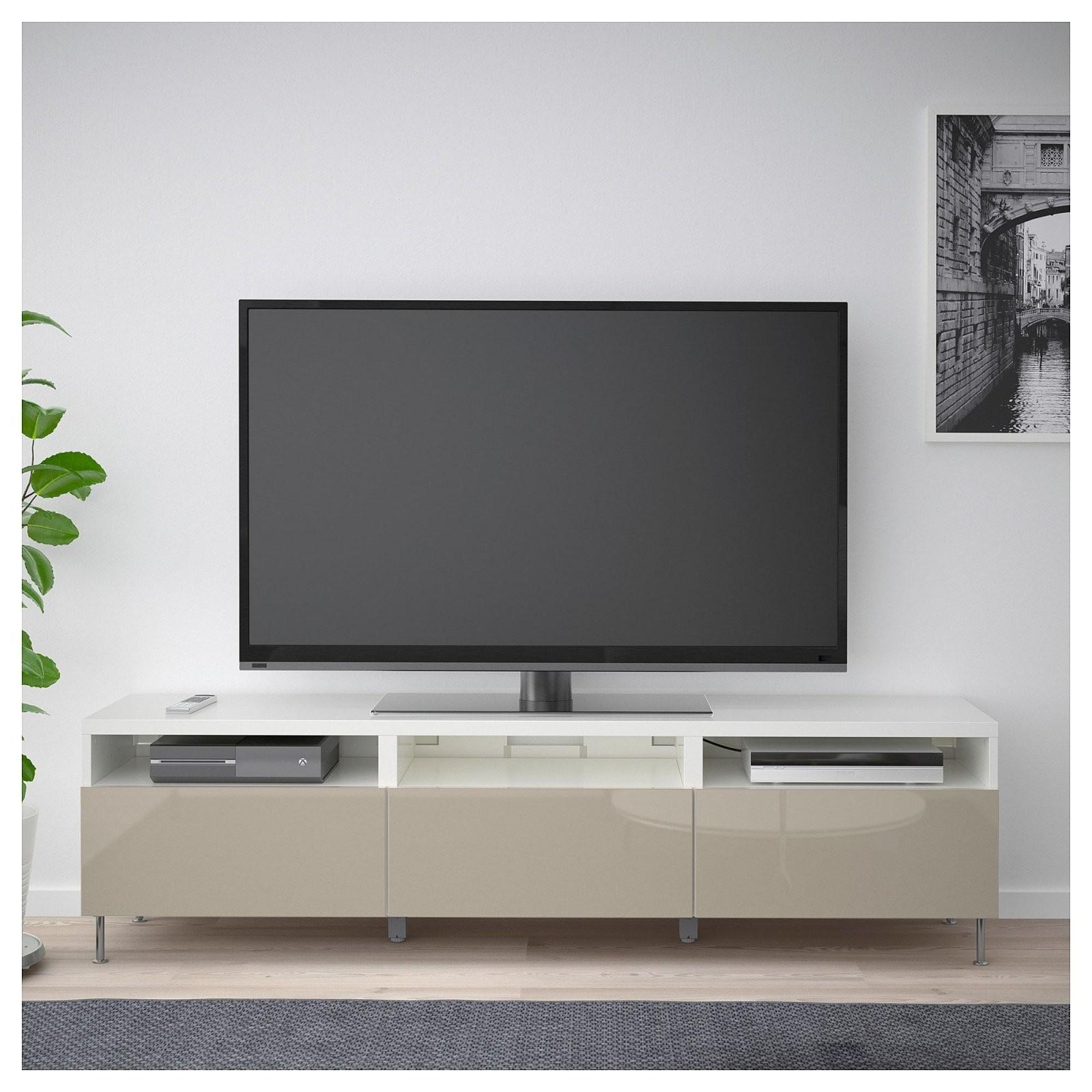 Bestå Tvbank Mit Schubladen Weiß Selsvikenstallarp Hochglanz von Ikea Wohnwand Weiß Hochglanz Bild