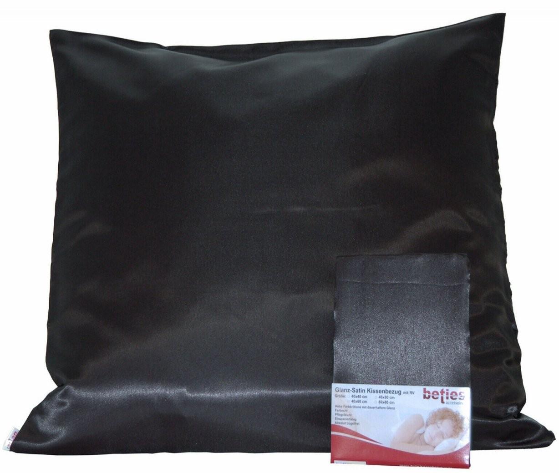 Beties Kissenbezug Glanz Satin 80X80 Cm Farbe Schwarz Günstig Kaufen von Glanz Satin Bettwäsche Uni Photo