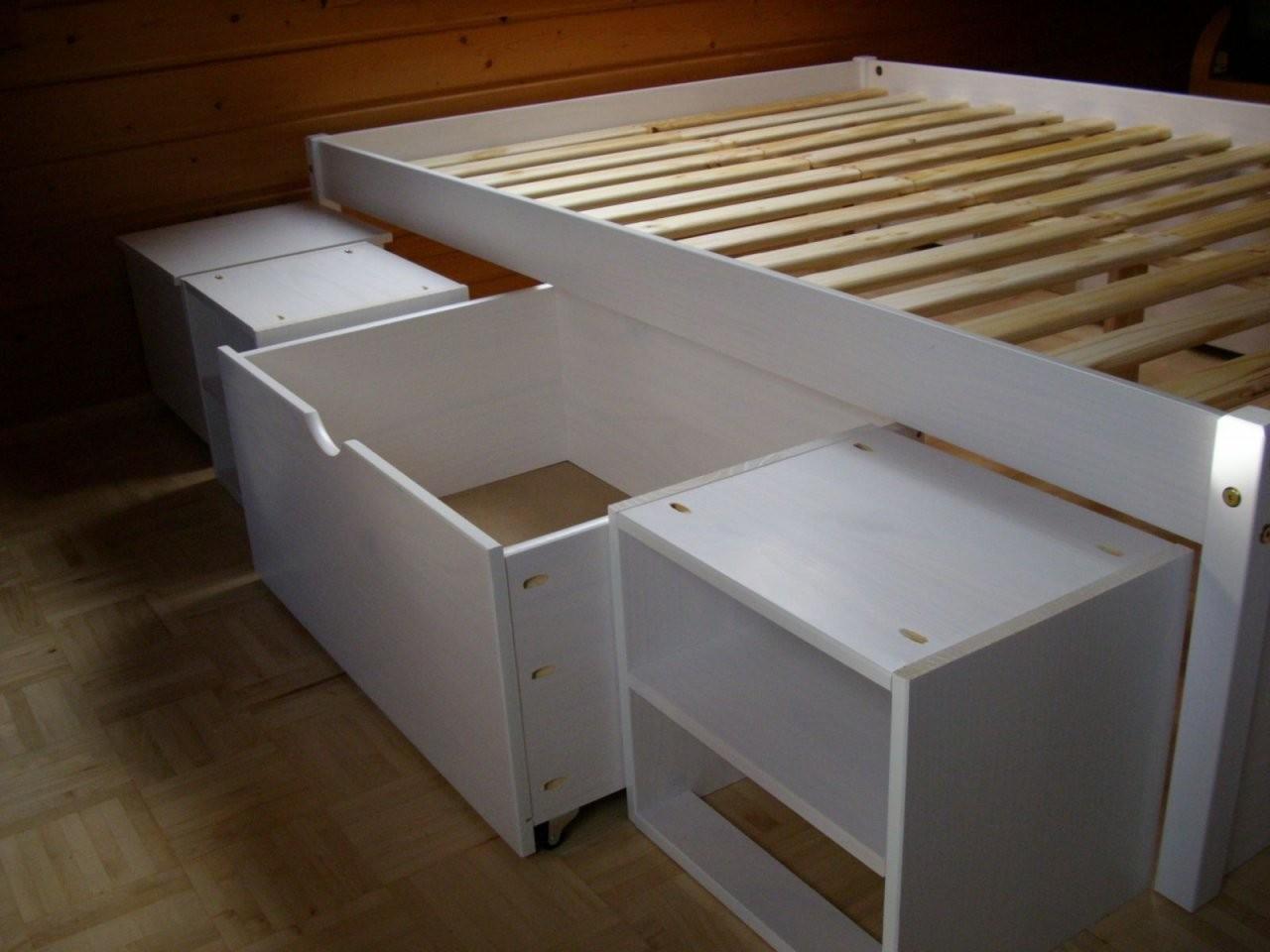 Bett 140X200 Selber Bauen Machen Bettgestell Paletten Stauraumbett von Stauraumbett 140X200 Selber Bauen Bild