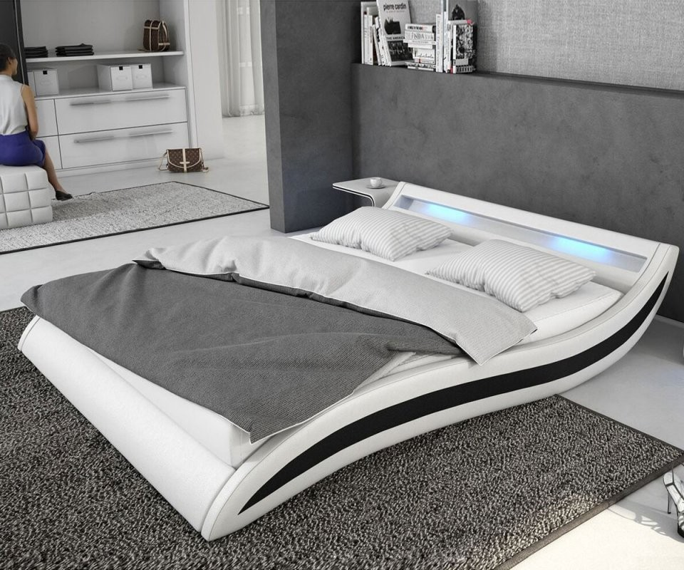 Bett Adonia Weiss Schwarz 140X200 Cm Mit Led Beleuchtung Polsterbett von Hochglanz Bett Weiß 140X200 Photo