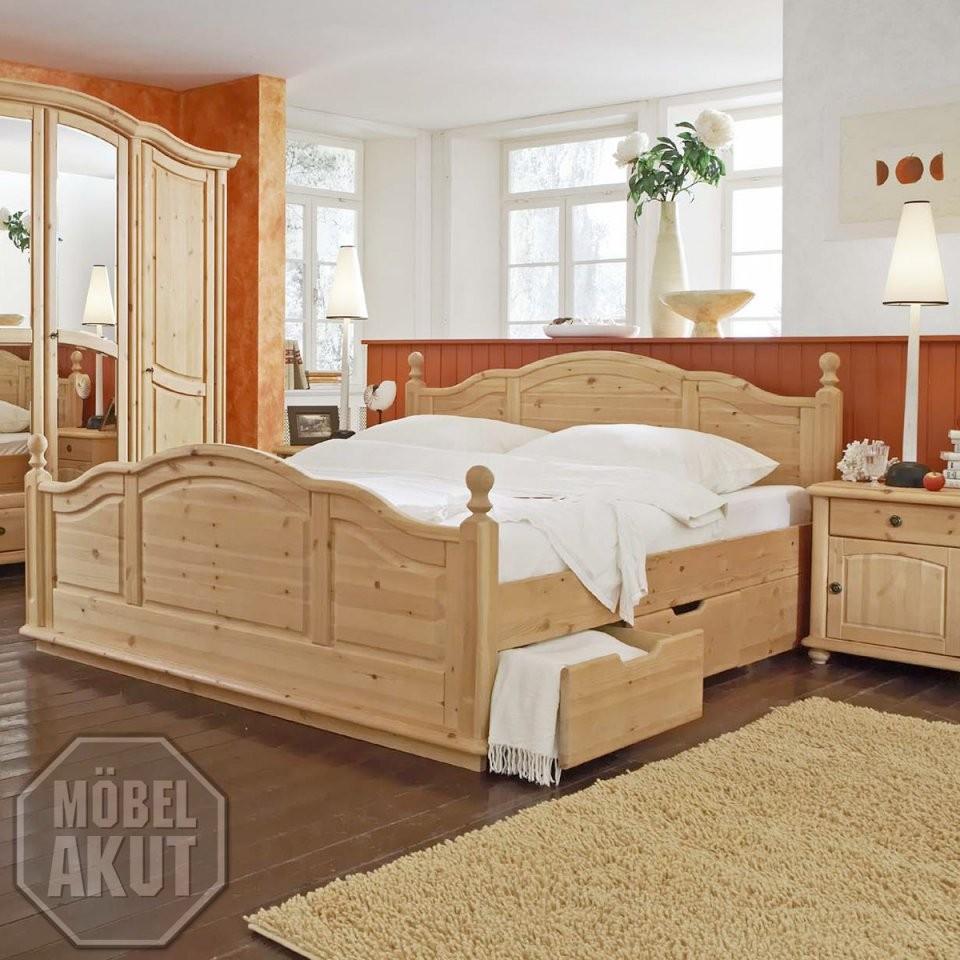 """Bett """"arosa"""" Doppelbett Schlafzimmerbett In Kiefer Massiv Gewachst von Doppelbett Kiefer Massiv 180X200 Bild"""