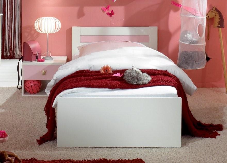 Bett Jugendbett Weiss Rosa Hippo 90 X 200 Cm Jugendzimmer von Bett Hochglanz Weiß 90X200 Photo