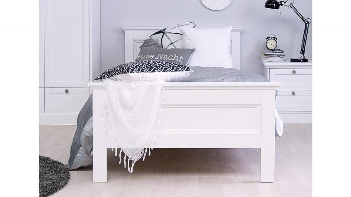 Bett Landwood Bettgestell In Weiß Mit Kopfteil 90X200 Cm Landhausstil von Bett Hochglanz Weiß 90X200 Photo