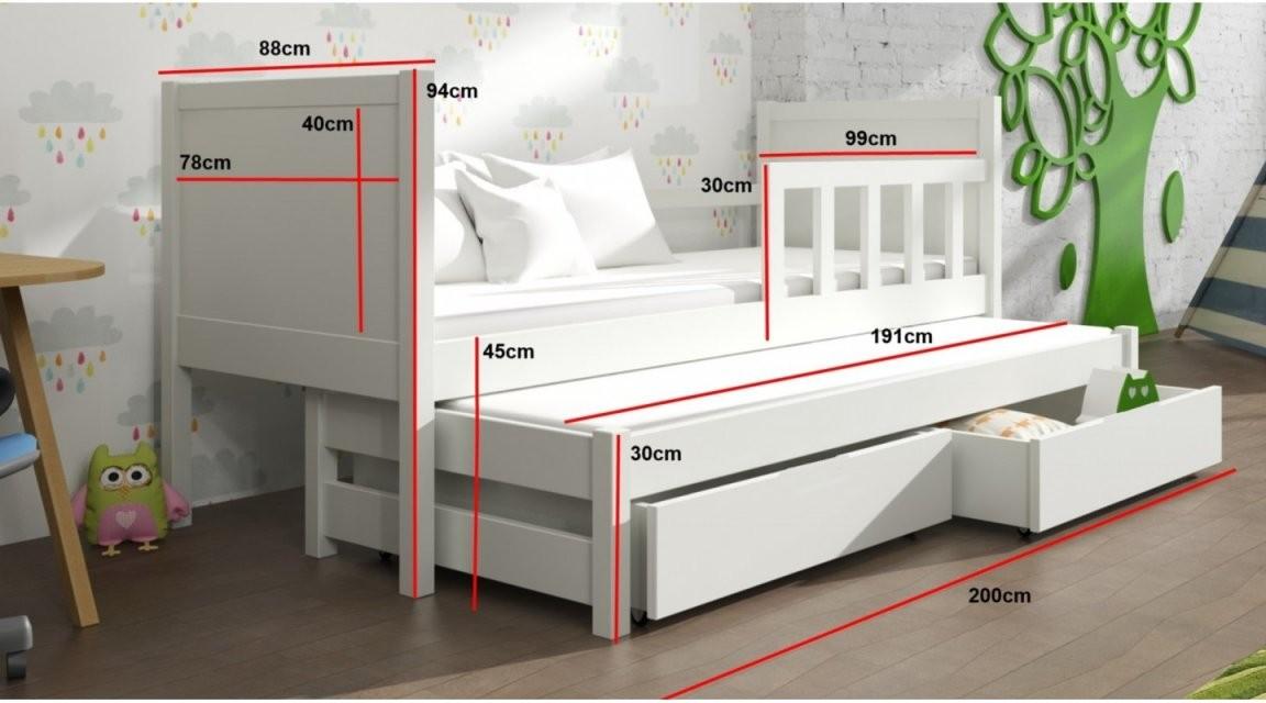Bett Peter 4 Kinderbett Weiss Schubladen Doppelbett  Emoebel24 von Kinderbett Weiss Mit Schublade Bild
