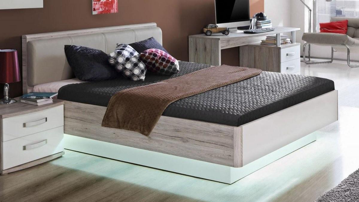 Bett Rondino Jugendzimmerbett In Sandeiche Und Weiß Hochglanz 140X200 von Hochglanz Bett Weiß 140X200 Photo