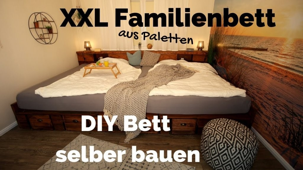 Bett Selber Bauen  Palettenbett Diy  Xxl Kingsize Familienbett von Coole Betten Selber Bauen Photo