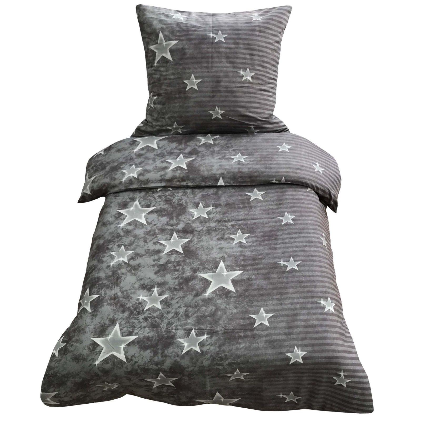 Bettwäsche 155X220 + 80X80 Cm Grau Sterne Und Streifen Mit von Bettwäsche Sterne Grau 155X220 Bild