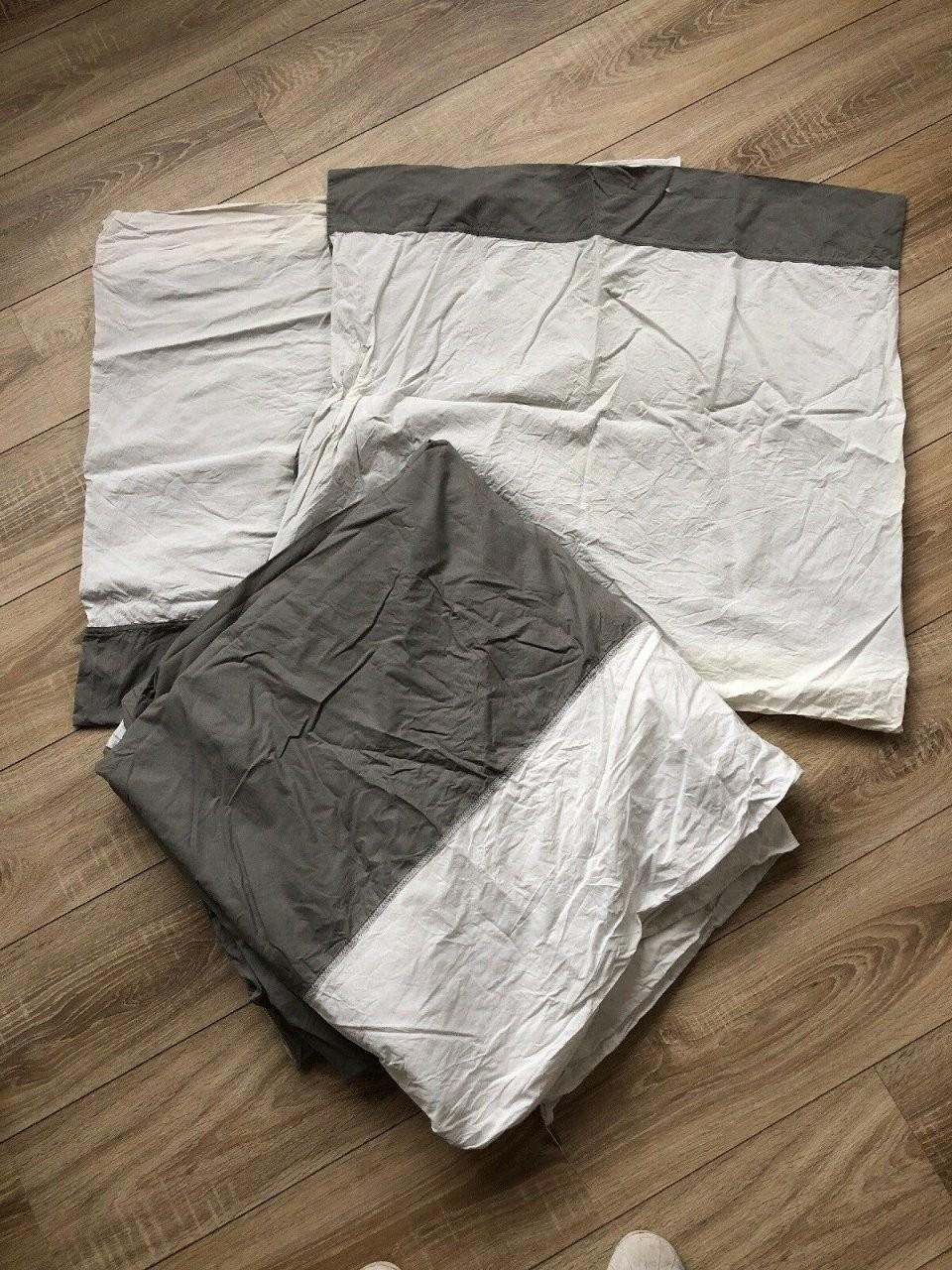Bettwäsche Farglav Grau 220X240 2X Kopfkissen Übergröße von Ikea Bettwäsche Grau Weiß Photo