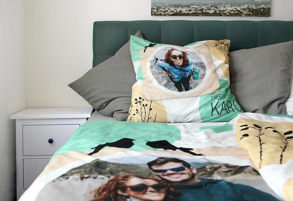 Bettwäsche Mit Eigenen Fotos Designen  Rossmann Fotowelt von Bettwäsche Bedrucken Lassen Text Bild