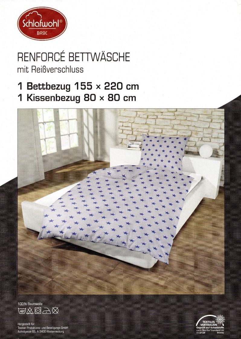 Bettwäsche Sterne Grau  Blau  155 X 220 Cm  Baumwolle Renforcé von Bettwäsche Sterne Grau 155X220 Bild