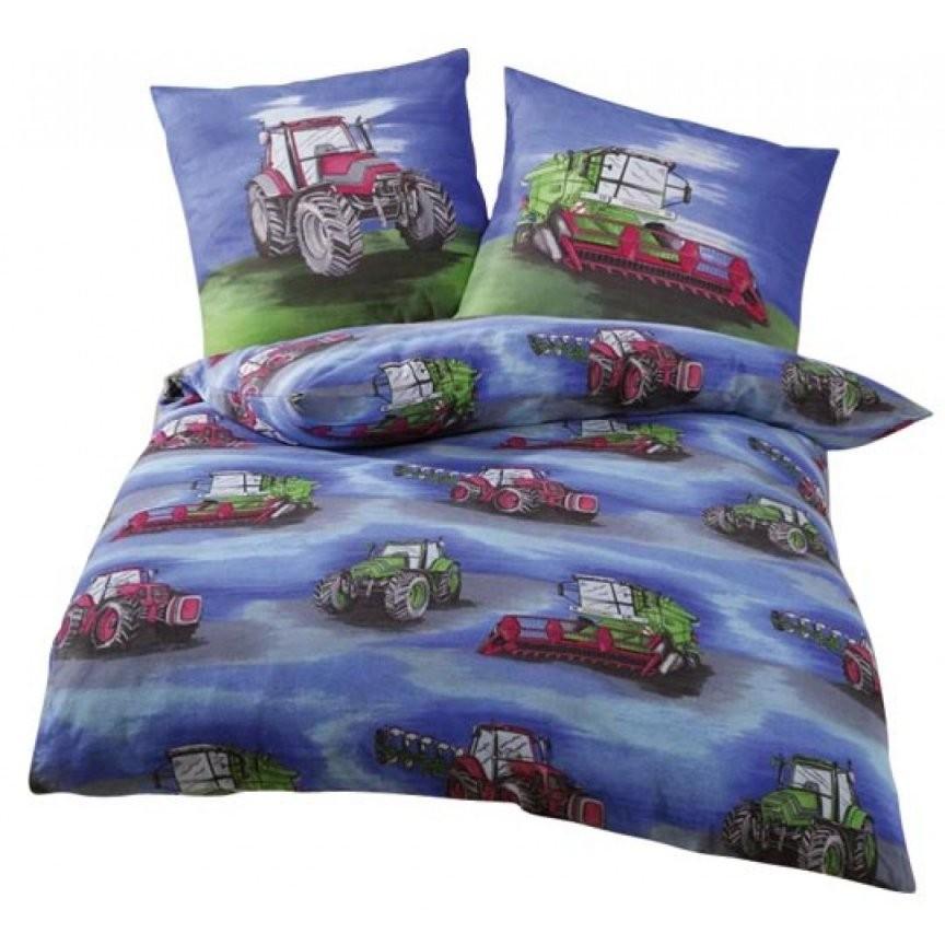 Bettwäsche Traktormähdrescher Blau (Biber)  Eilbote von Bettwäsche Kleiner Roter Traktor Bild
