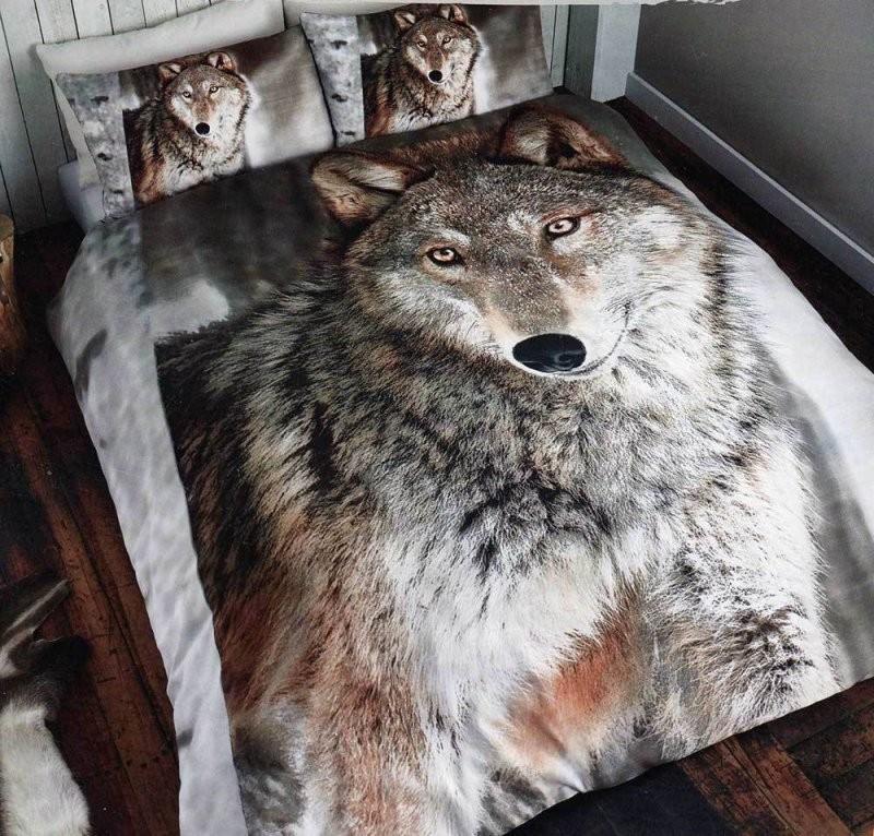 Bettwäsche Wolf 3D Effekt Fotodruck Bettgarnitur Tier Bett Wäsche von Bettwäsche Fotodruck Tiere Photo