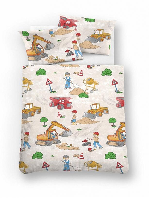 Biberna Feinbiber Bettwäsche Kinder 135X200 Baustelle Bagger von Biber Bettwäsche Kindermotiv 135X200 Bild