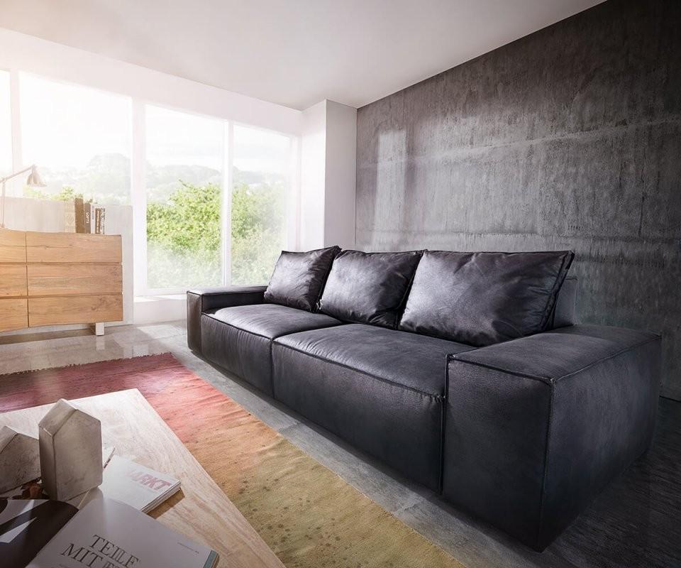 Bigsofa Sirpio L 250X105 Cm Anthrazit Vintage Kedernaht Möbel Sofas von Anthrazit Couch Wohnzimmer Farbe Photo