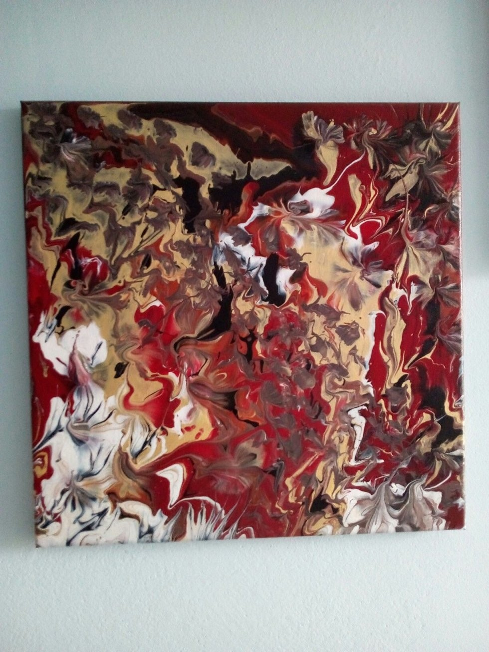 Bild Acrylfarbe Auf Leinwand Abstrakt Keilrahmen 40X40 Schwarz Rot von Bilder Leinwand Abstrakt Keilrahmen Bild