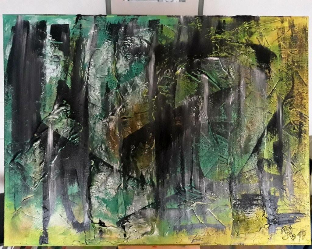 Bild  Malerei Acryl Abstrakt Acryl Auf Leinwand Grün Von Roland von Bilder Auf Leinwand Abstrakt Bild