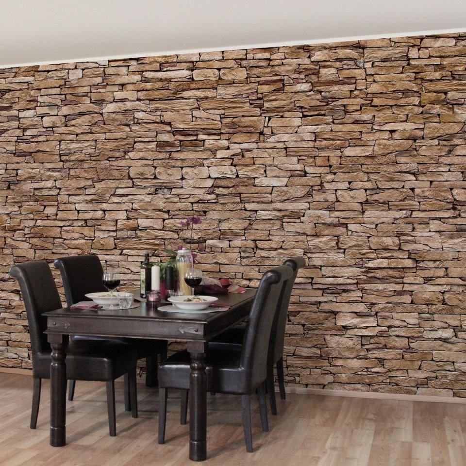 Bilderwelten Vliestapete Steinoptik Premium Breit Crete Stonewall von Tapeten In Steinoptik 3D Bild