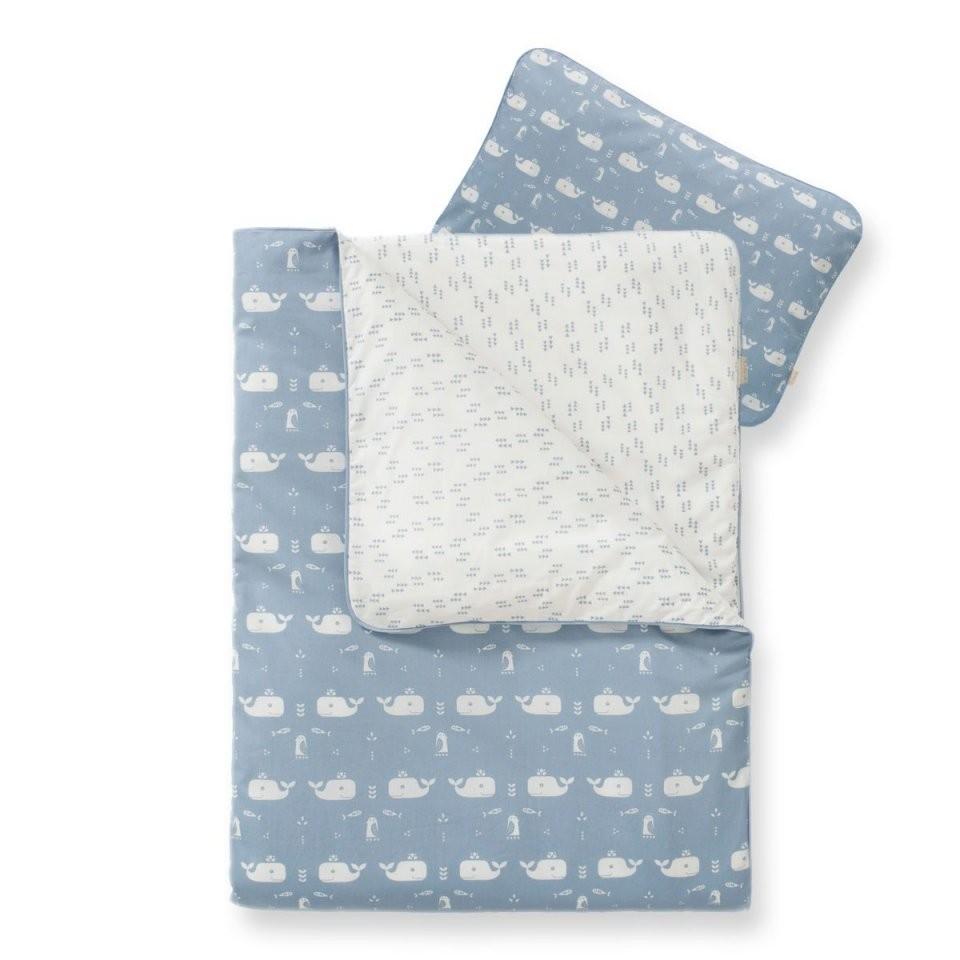 Bio Babybettwäsche Mit Wal In Blau (100X135Cm)  Jetzt Online Kaufen von Baby Bettwäsche 135X100 Bild
