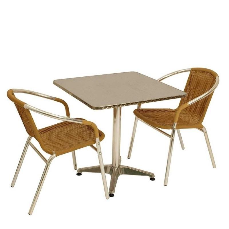 Bistro Tisch Set Mit 2 Stühlen Aus Alu  Kunstrattan  Coprium (3 von Bistrotisch Mit 2 Stühlen Bild