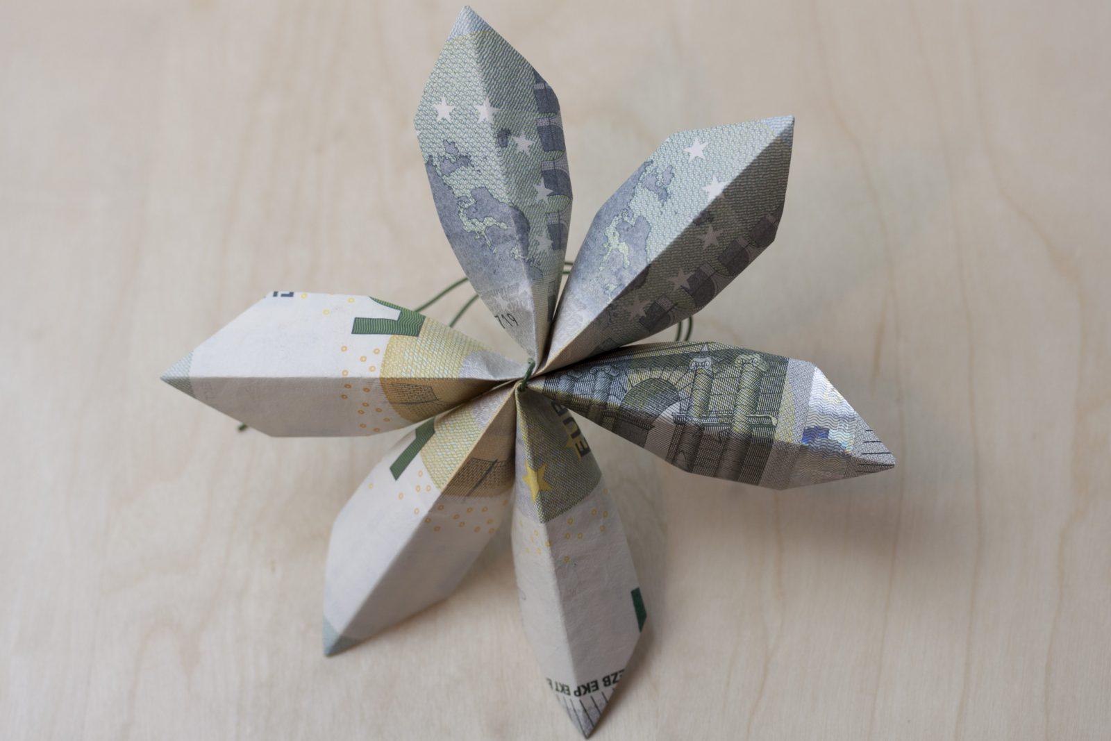 Blume  Faltanleitung von Geldscheine Falten Blume Mit Einem Schein Bild