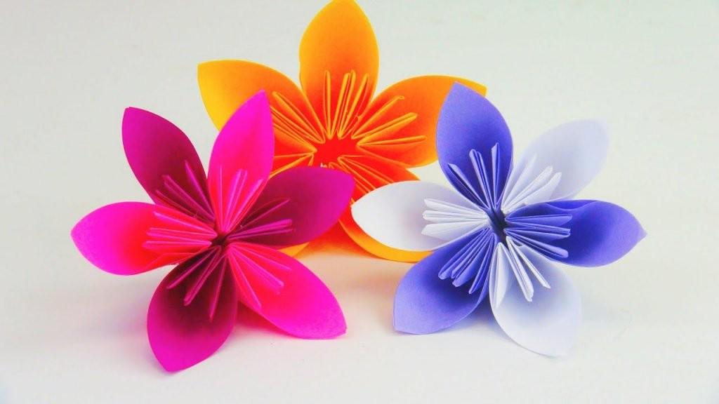 Blume Falten Origami Diy  Schöne Blumen Für Den Frühling  Ostern von Einfache Blumen Falten Anleitung Photo