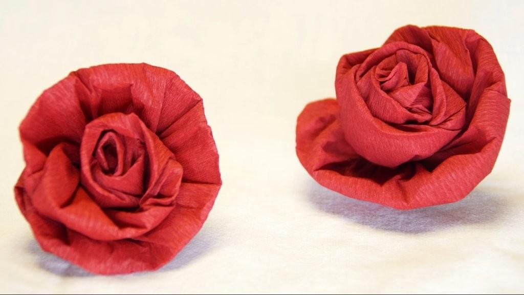 Blumen Basteln Rose Aus Krepppapier Feinkrepp Basteln How To von Rose Basteln Papier Anleitung Bild