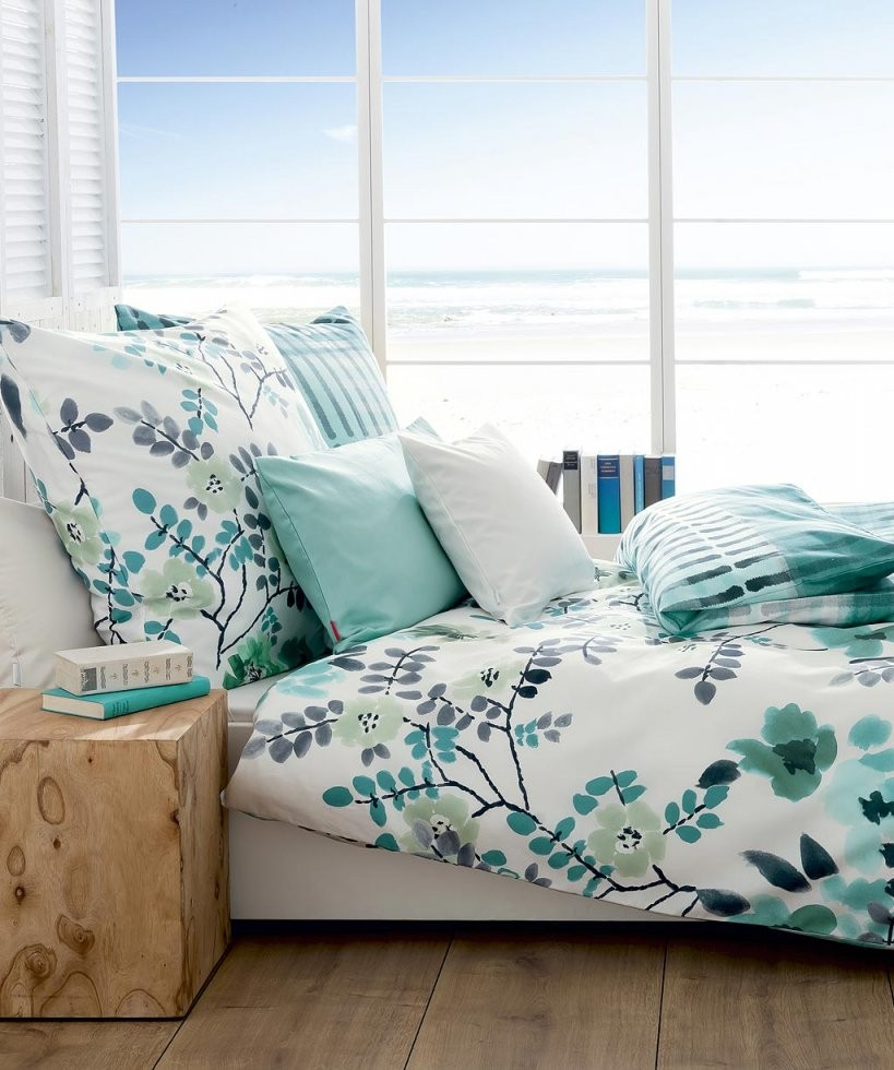 Blumen Bettwäsche Blau ♥ Mako Satin Fleuresse Reduziert  Ladyproject von Bettwäsche 200X220 Günstig Bild