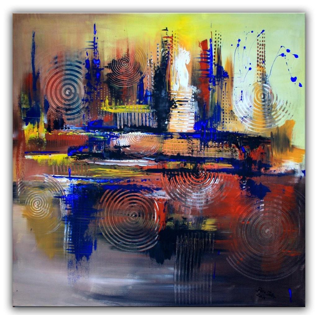 Braun Blaue Kreise  Abstrakte Kunst Auf Leinwand  Abstrakt von Bilder Auf Leinwand Abstrakt Bild