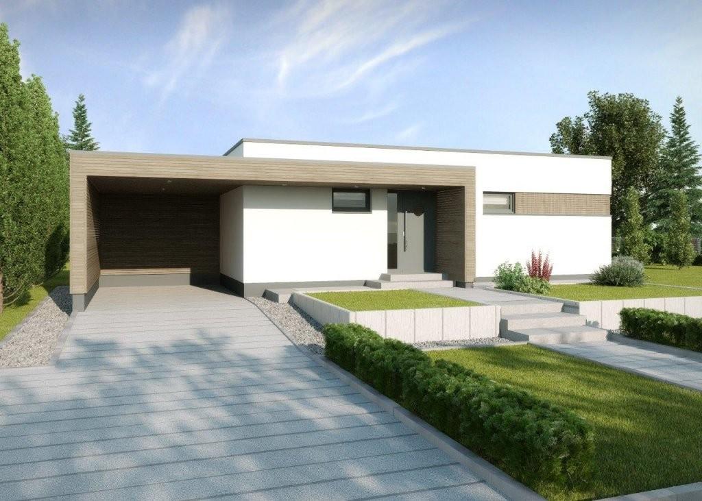 Bungalow Gomera Modern Met Plat Dak  Gussek Huis  Direkte Konstruksie von Carport Am Haus Modern Photo