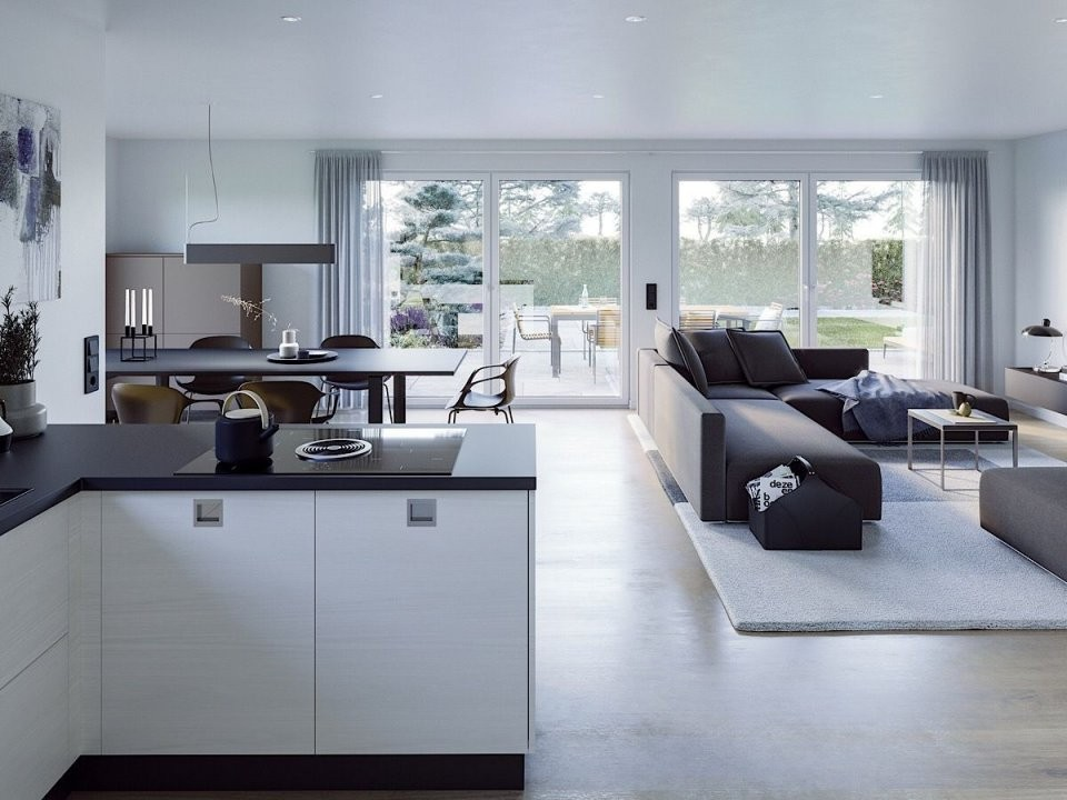 Bungalow Haus Innen Modern Offene Küche Mit Wohnzimmer  Essbereich von Moderne Wohnzimmer Mit Offener Küche Bild
