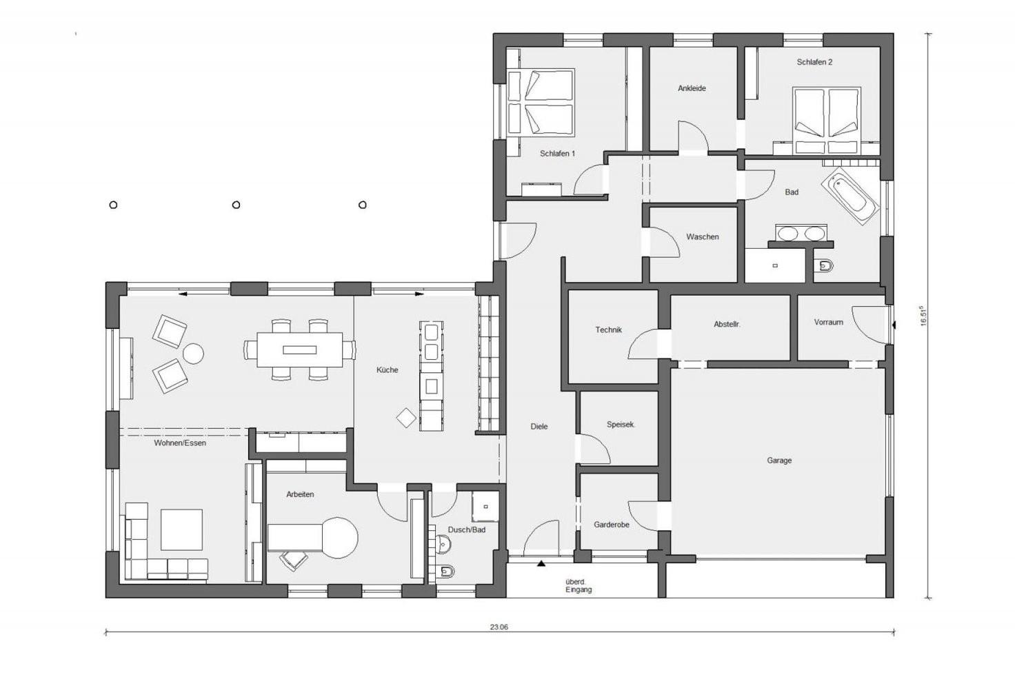 Bungalow In Lform  E 102061  Schwörerhaus von Bungalow L Form Grundriss Bild