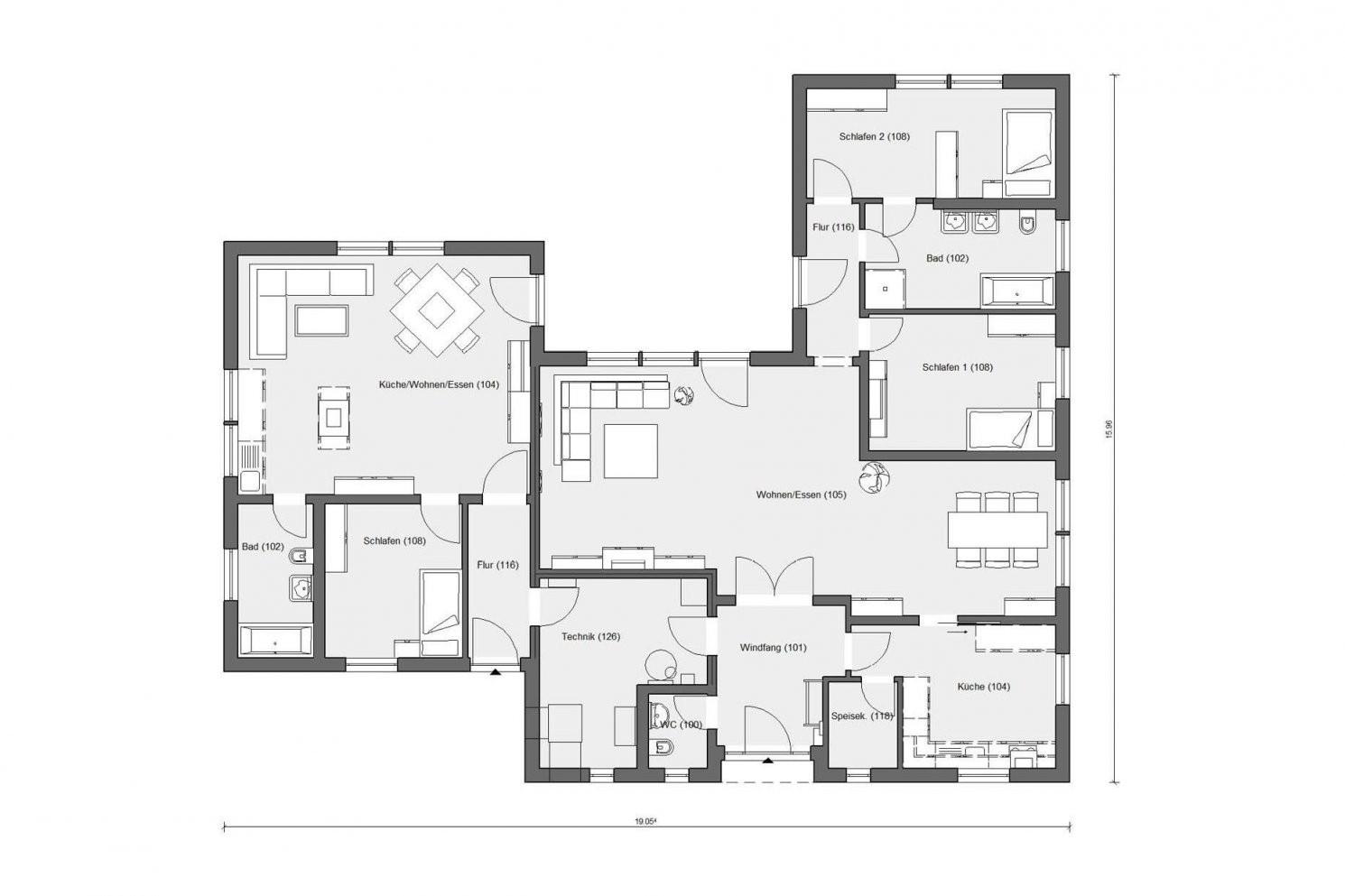 Bungalow In Uform In 2019  Traumhäuser  Atriumhaus Grundriss von Bungalow L Form Grundriss Photo