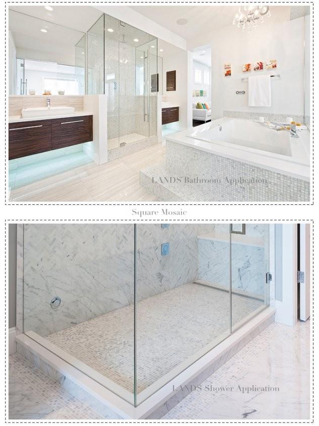 Carrara Weiß Grau Marmor Mosaik Fliesen Küche Backsplash Badezimmer von Mosaik Fliesen Dusche Boden Bild