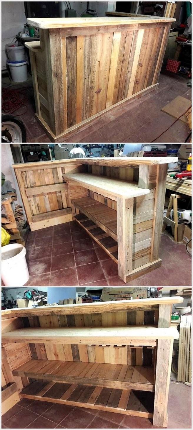Cheap Home Furnishing With Wooden Pallets  Bar Selber Bauen  Möbel von Theke Aus Europaletten Anleitung Bild