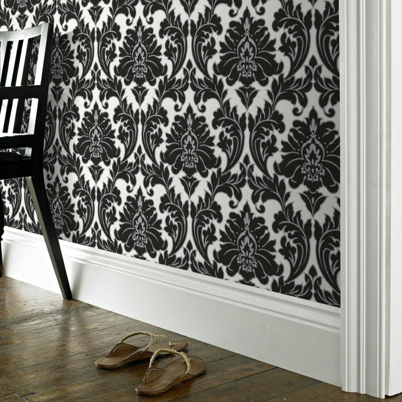 Coole Tapete  Barock Tapete Schwarz Silber von Barock Tapete Schwarz Weiß Bild