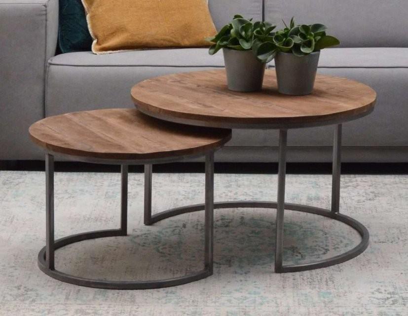 Couchtisch Jamie 2Er Set Metall Gestell Holzplatte Mango  Tisch von Tisch Mit Metallgestell Und Holzplatte Bild