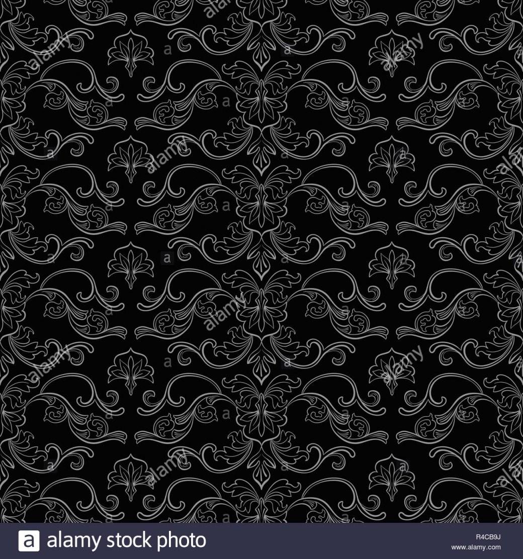 Damast Vektor Nahtlose Muster Vintage Style Tapete Teppich Oder von Schwarze Tapete Mit Muster Photo