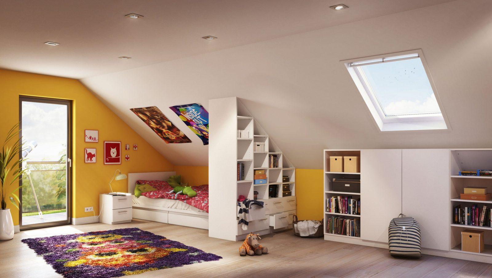 Das Farbenfrohe Kinderzimmer Wurde Mit Perfekt Passenden Maßmöbeln von Kinderzimmer Mit Dachschräge Einrichten Bild
