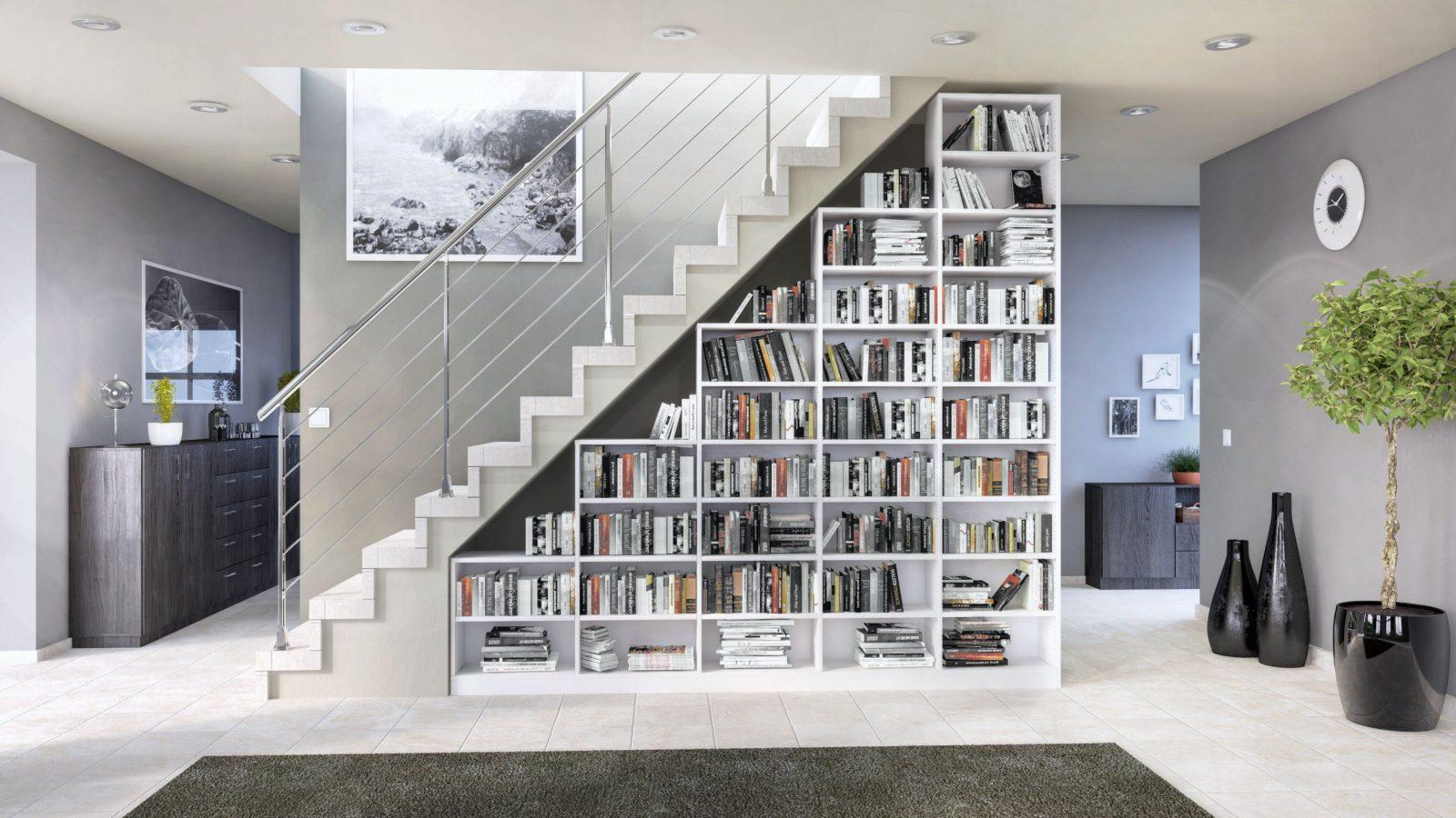Das Regal Unter Der Treppe Von Deinschrank Integriert Sich von Regale Unter Der Treppe Photo