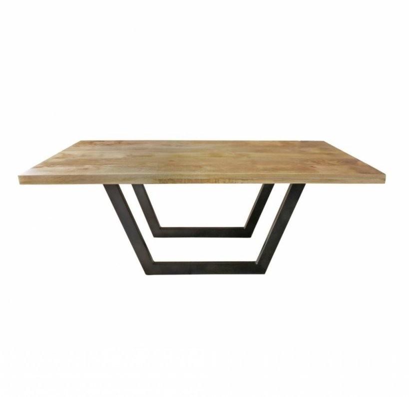 Design Esstisch Mit Untergestell Aus Metall Und Massiver Holzplatte von Tisch Mit Metallgestell Und Holzplatte Photo