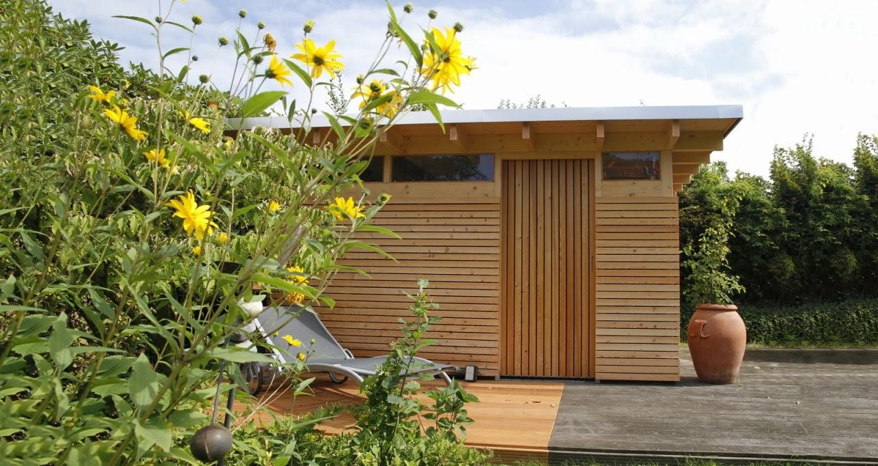 Design Gartenhaus Classic  Das Flachdach Gartenhausgerätehaus von Moderne Gartenhäuser Aus Holz Bild
