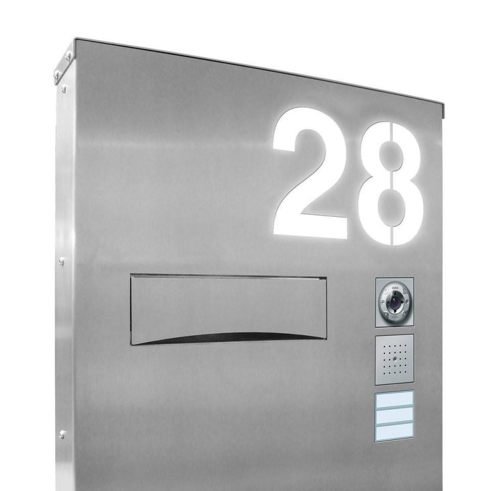 Design Led Edelstahl Briefkastensäule Beleuchtet  Thorwa Metalldesign von Edelstahl Briefkasten Mit Hausnummer Bild
