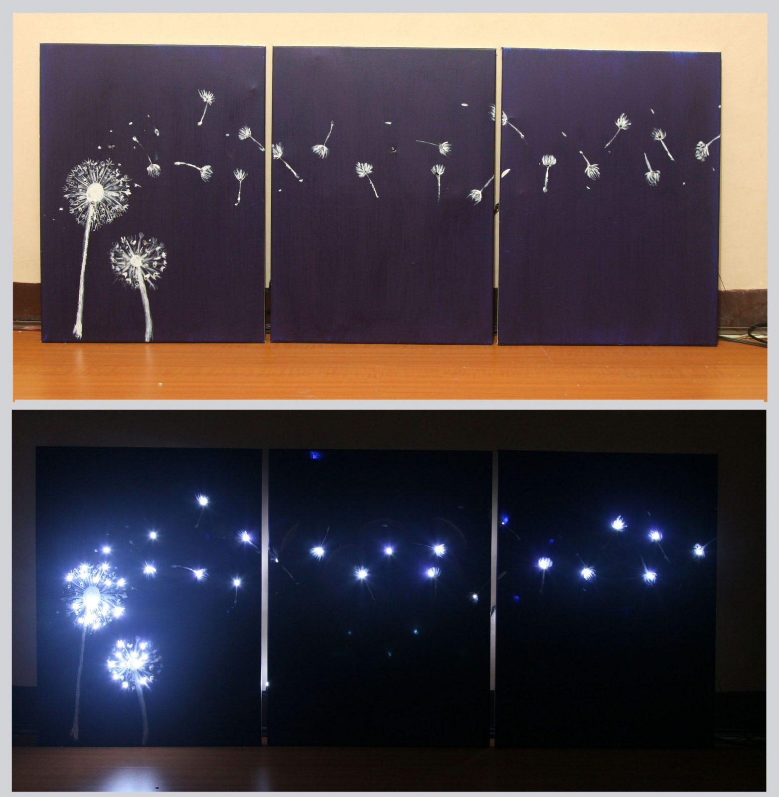 Design Three Panel Light Up Dandelion Wall Art  Acrylmalerei von Led Leinwandbild Selber Machen Photo