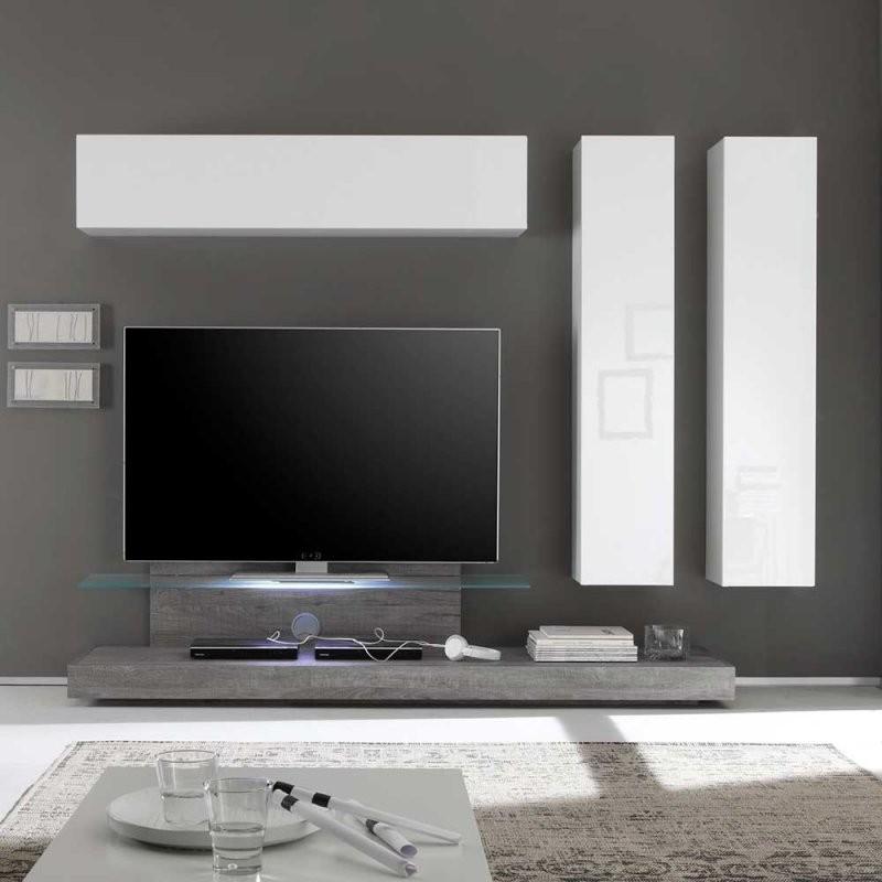 Design Wohnwand Annica In Weiß Hochglanz Eiche  Pharao24 von Designer Wohnwand Weiß Hochglanz Bild