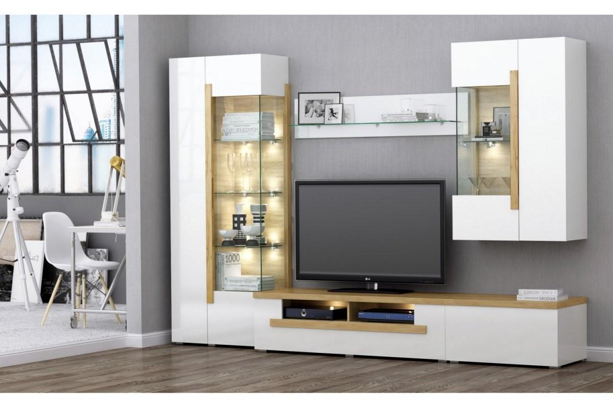 Design Wohnwand Dubai 5Teilig Hochglanz Weiss  Eiche Massiv von Designer Wohnwand Weiß Hochglanz Photo