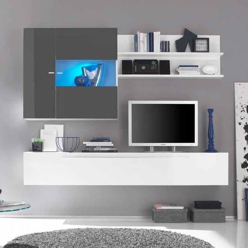 Design Wohnwand In Anthrazit Und Weiß Hochglanz Hängend  Munarula von Wohnwand Weiß Hochglanz Hängend Bild