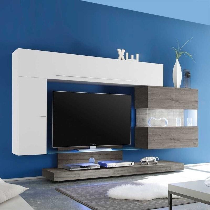 Design Wohnwand In Eiche Grau Und Weiß Hochglanz Modern  York (4 von Designer Wohnwand Weiß Hochglanz Photo